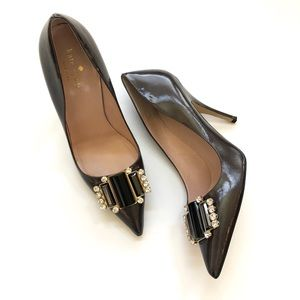Kate Spade Laylee patent leather jeweled pumps